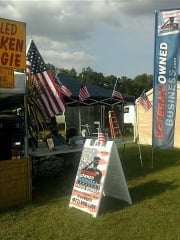 Veteran Owned Business Booth at a Motorcyle (Biker) Rodeo