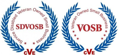 Center for Veterans Enterprise SDVOSB Logo and VOSB Badge
