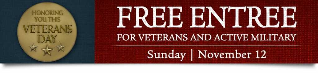 CentraArchy Restaurants offers free meals for veterans Sunday, November 12