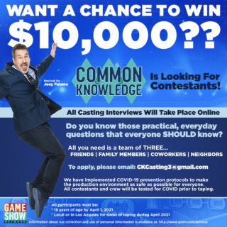 "Seeking Contestants for ""Common Knowledge"" Hosted by Joey Fatone 